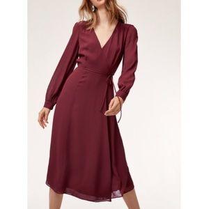 Aritzia Wilfred Lina wrap midi dress size small